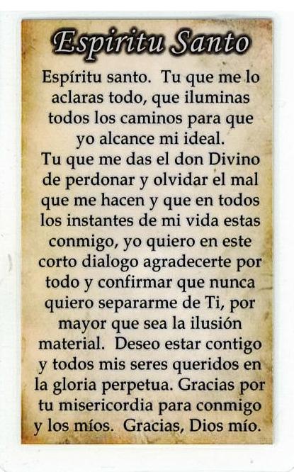 Necklace - Espiritu Santo Medal & Holy Card - LH125.0895