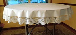 """Lovely White Tablecloth with Lovely Floral lace Trim - Approx. 64"""" Round - #6660 - $19.99"""