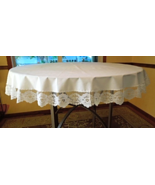 "Lovely White Tablecloth with Lovely Floral lace Trim - Approx. 64"" Round... - $19.99"