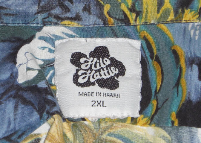 Hilo Hattie Hawaiian Shirt Blue Black 1980s 2XL