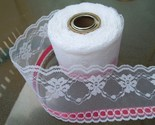 64 d3 approx 11 yds 2 3 4  wide embroidered tulle beading lace w bright pink ribbon 8 9 14 3.10  6829 thumb155 crop