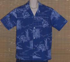 HOWIE Hawaiian Shirt Blue Island Maps Large NWOT - $24.95