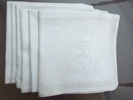 Apt bin  16 set of 5 vintage light ecru floral damask linen napkins   in good cond   possible general age discoloration  3.64 lot 10 4 13 cl calif  5104a thumb200