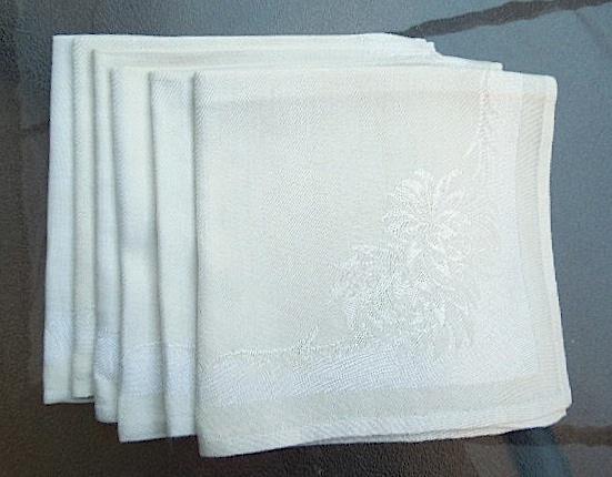 Lot of Five Vintage Linen Table Napkins  - Ecru  #5104