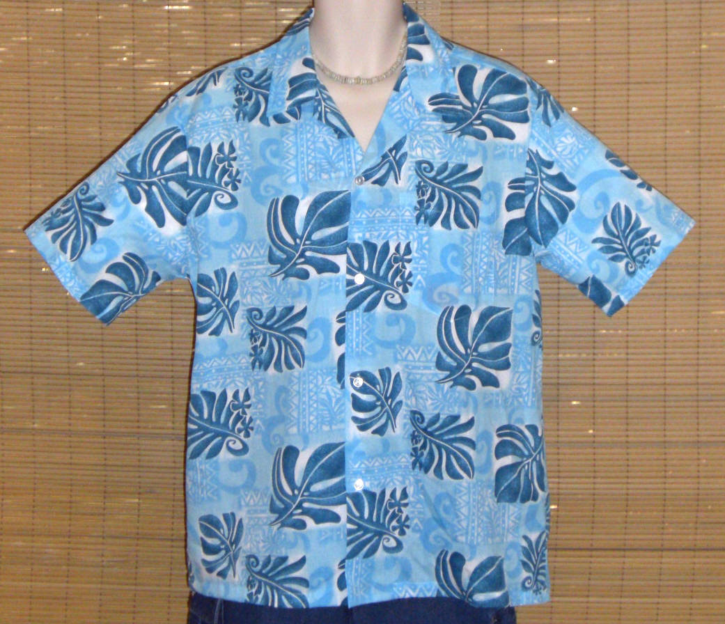 Primary image for Howie Hawaiian Shirt Light Blue with Dark Blue Floral print Medium LN