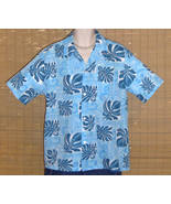 Howie Hawaiian Shirt Light Blue with Dark Blue Floral print Medium LN - $17.95
