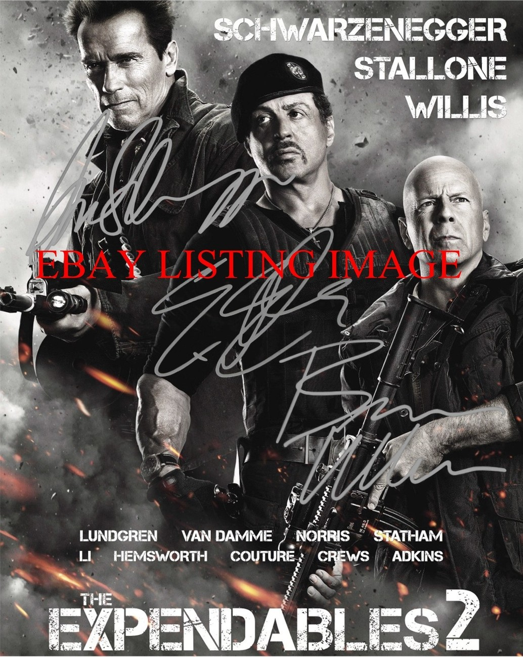 Primary image for THE EXPENDABLES 2 AUTOGRAPHED RP PHOTO SYLVESTER STALLONE SCHWARZENEGGER WILLIS