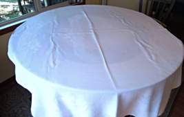 """Vintage Damask Linen White Tablecloth - size approx 46"""" x 62"""" - $19.99"""