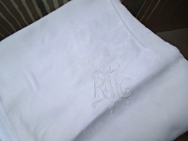 Vintage White Damask Linen Tablecloth with Embroidered Initials 84x72 #6250 - $8.99