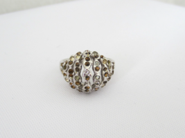 Vintage Sterling Silver Rhinestone High Dome Ring Size 7.25 - £14.82 GBP