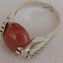 Blood stone snake ring
