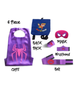 Super Hero Capes for Kids Halloween Costumes | 5pc Set | Spider Girl Pur... - $17.81