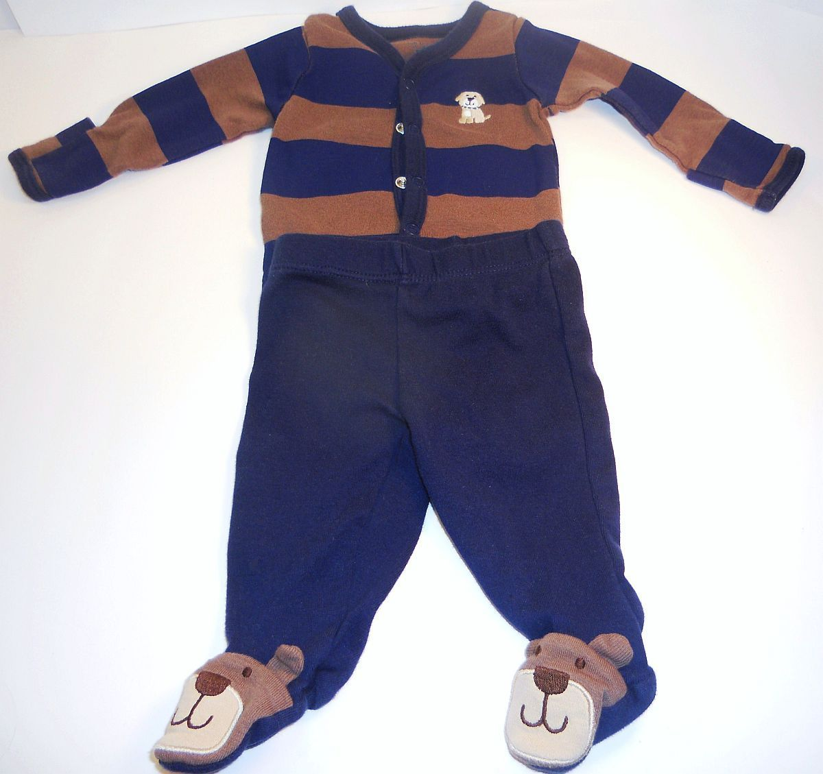 Primary image for Carter's boys blue brown shirt puppy footie pants outfit New Born