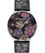 COACH NEW IN BOX WOMENS PERRY BLACK FLORAL LEATHER STRAP WATCH 36MM - $85.00