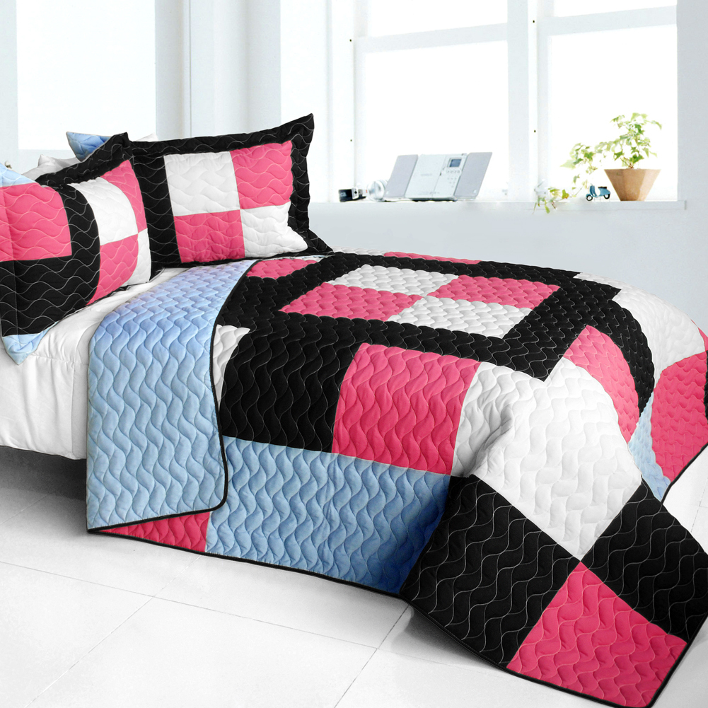 [Modern Pink] 3PC Vermicelli - Quilted Patchwork Quilt Set (Full/Queen Size) - $101.99
