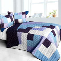[Purple Whirlies] 3PC Vermicelli - Quilted Patchwork Quilt Set (Full/Queen Size) - $101.99