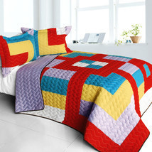 [Second Space] 3PC Vermicelli - Quilted Patchwork Quilt Set (Full/Queen Size) - $101.99