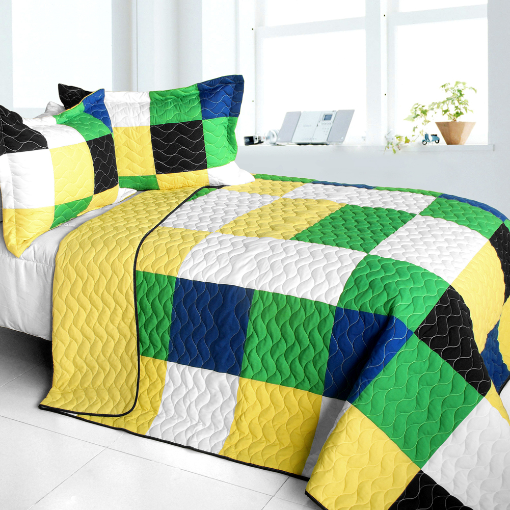 Primary image for [Romance of Green] 3PC Vermicelli - Quilted Patchwork Quilt Set (Full/Queen Size