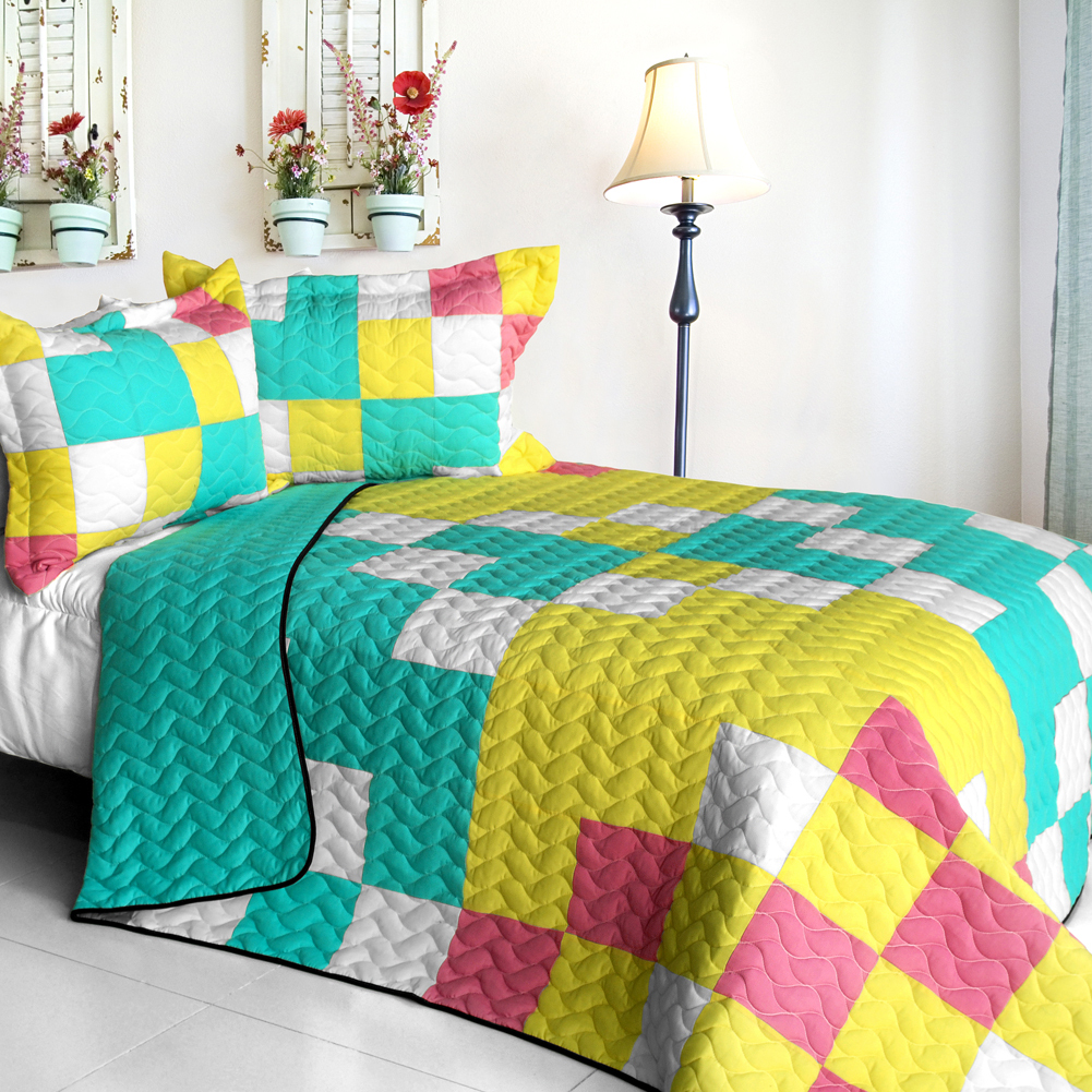 Primary image for [Unforgettable Start] 3PC Vermicelli - Quilted Patchwork Quilt Set (Full/Queen S