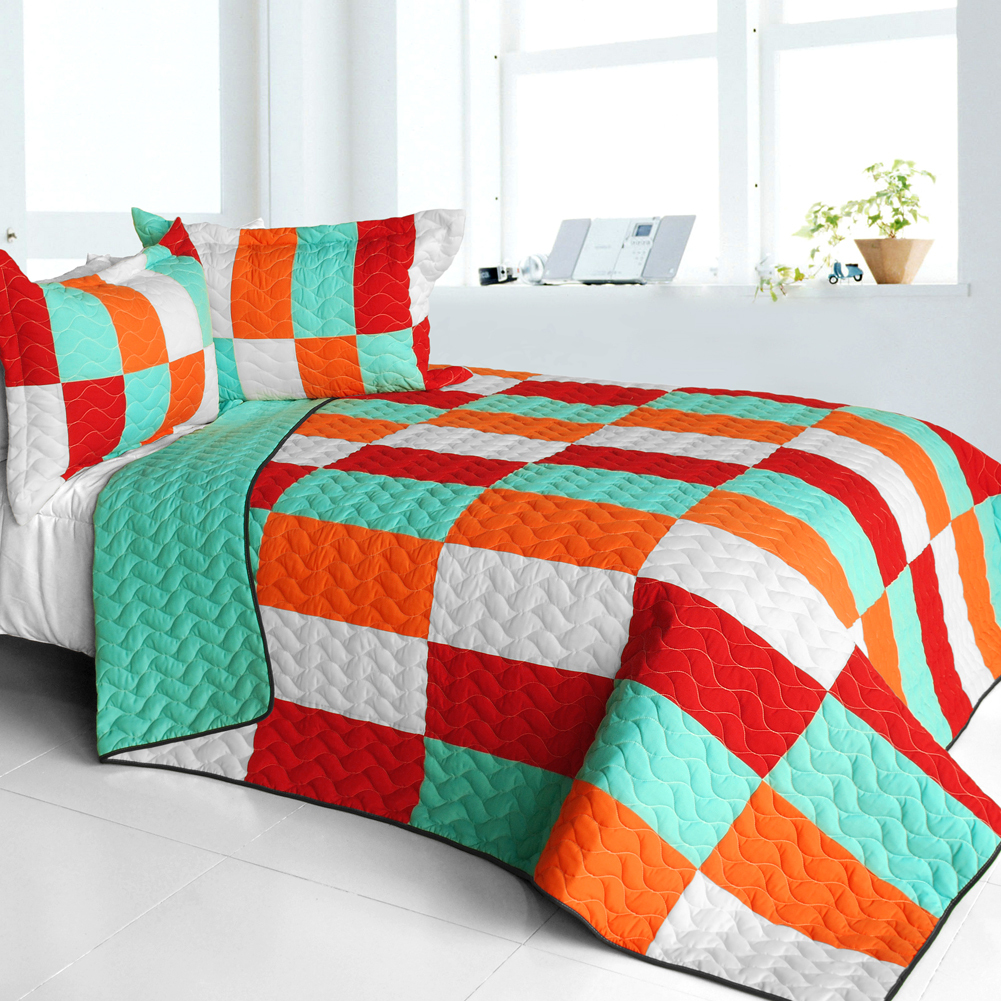 Primary image for [Kaleidoscope] 3PC Vermicelli - Quilted Patchwork Quilt Set (Full/Queen Size)