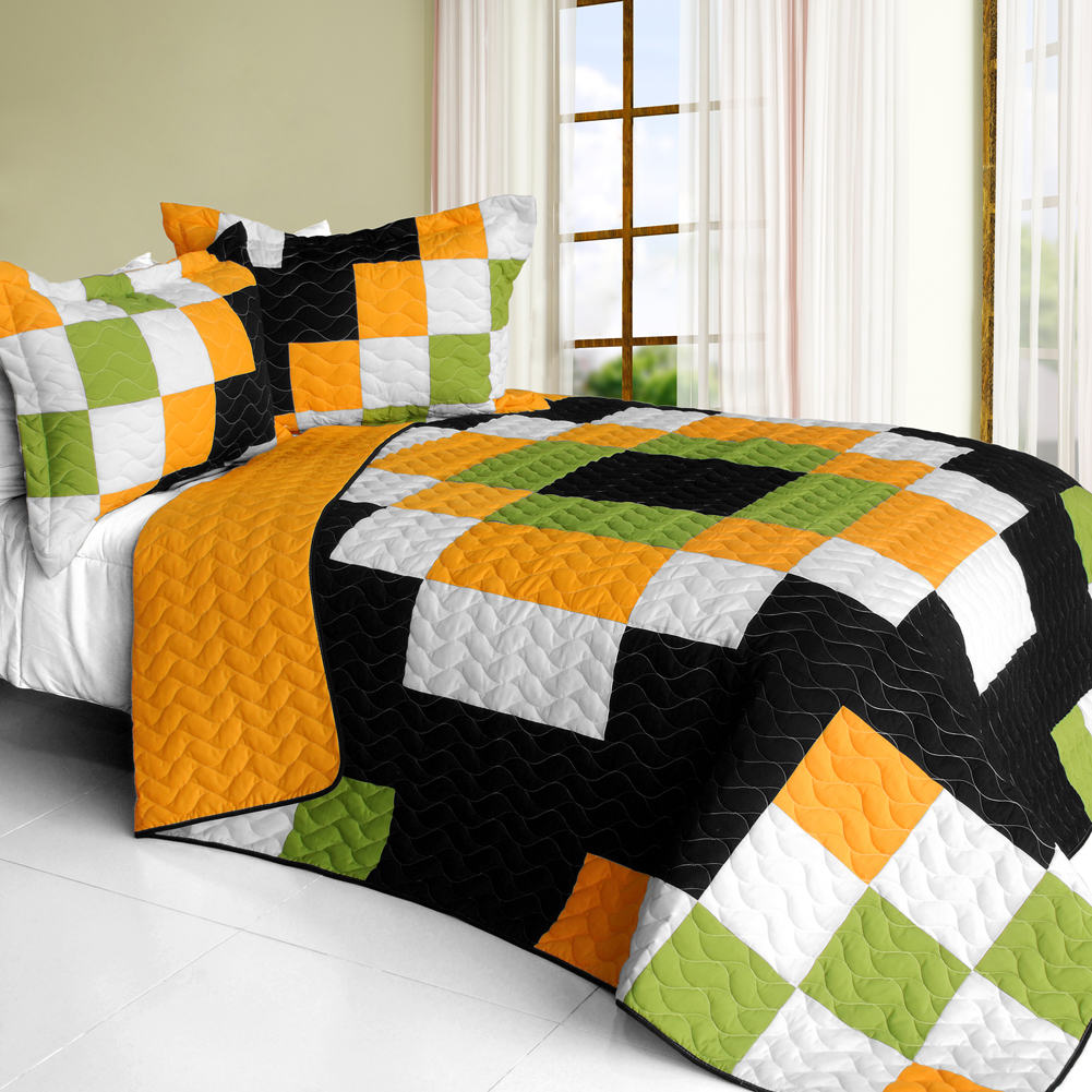 Primary image for [Ray of Light] 3PC Vermicelli - Quilted Patchwork Quilt Set (Full/Queen Size)