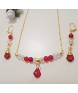 Handcrafted Ruby Crystal Baroque Gold Plated Earrings and Necklace Set - $32.99