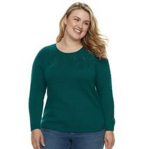 Plus Size SONOMA Women's Neckline Cable Knit Sweater - Emerald Green 4X - $13.98