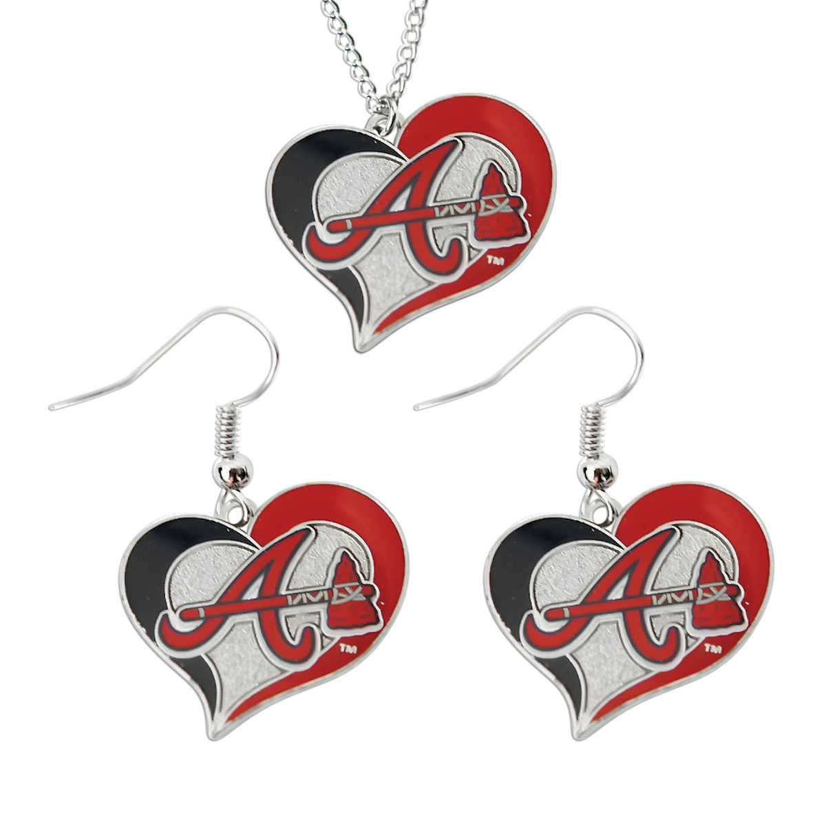 Primary image for MLB Atlanta Braves Swirl Heart Necklace and Dangel Earring Set Charm Gift