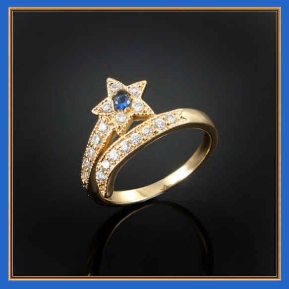 Shooting Star Simulated Sapphire Encircled CZ Diamonds 10K Rose Gold Plated Ring