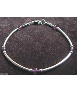 "Amethyst & Sterling Silver Tube Bracelet 6.75"" - 7.5"" - $13.81"