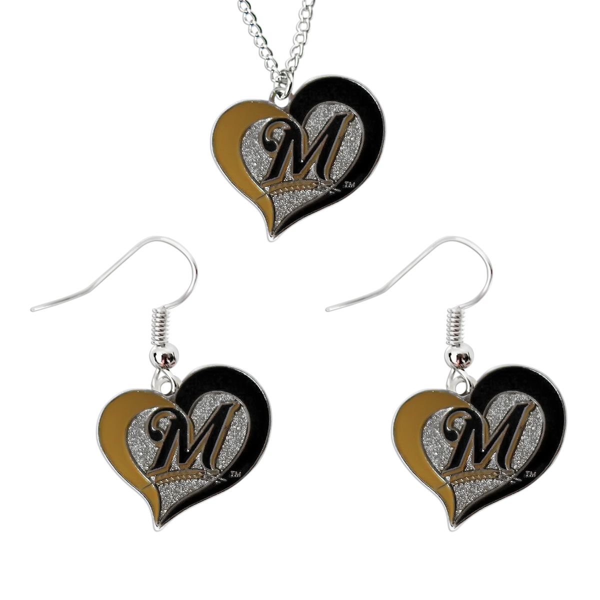 Primary image for MLB Milwaukee Brewers Swirl Heart Necklace and Dangle Earring Set Charm Gift