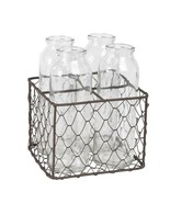 Four Old Dairy Bottles in Metal Mesh Holder - $19.75