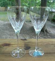 "Lenox Firelight Gold Panel Cut Set of 2 Wine Glasses 7 7/8"" - $30.00"