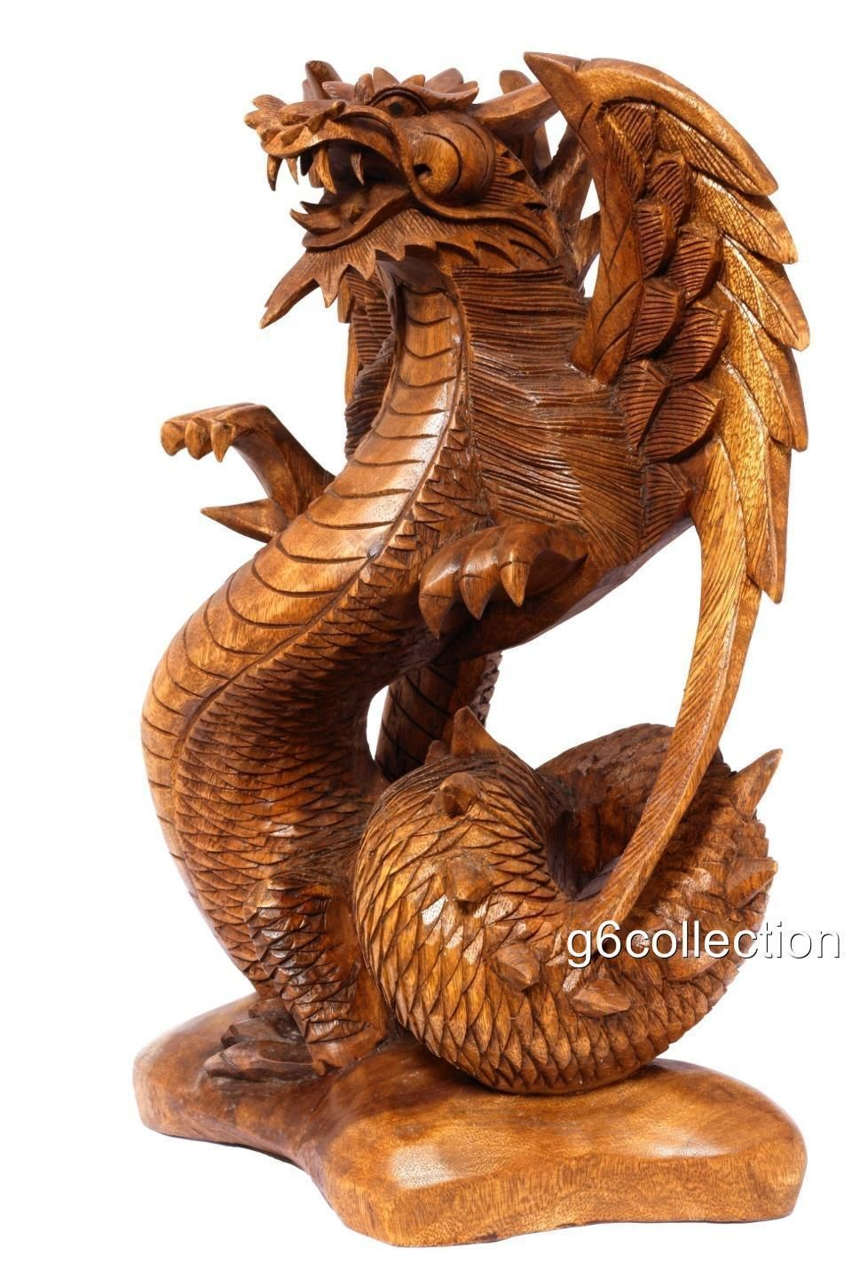 Quot large wood the guardian dragon bali statue hand