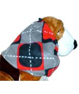Dog Snood Grey Black Red White Argyle Fleece Basset Poodle Afghan Puppy ... - $10.50