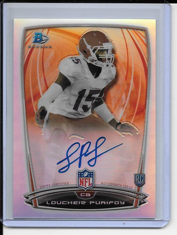 Primary image for Loucheiz Purifoy AUTOGRAPH ROOKIE Card 2014 Bowman Chrome RC AUTO REFRACTOR