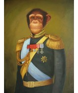 16X20 inches Animal Canvas Print Monkey General in Uniform - $23.70