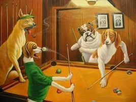 16X20 inch Animal Puppy Canvas Art Dogs Playing Pool - $23.70