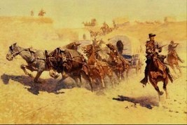 16X20 inch Frederic Remington CanvasArt Attack on the Supply Wagon - $23.70