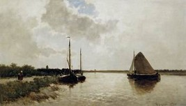 16X20 inch Weissenbruch Jan Ships on canal Sun Canvas Art Repro - $23.70