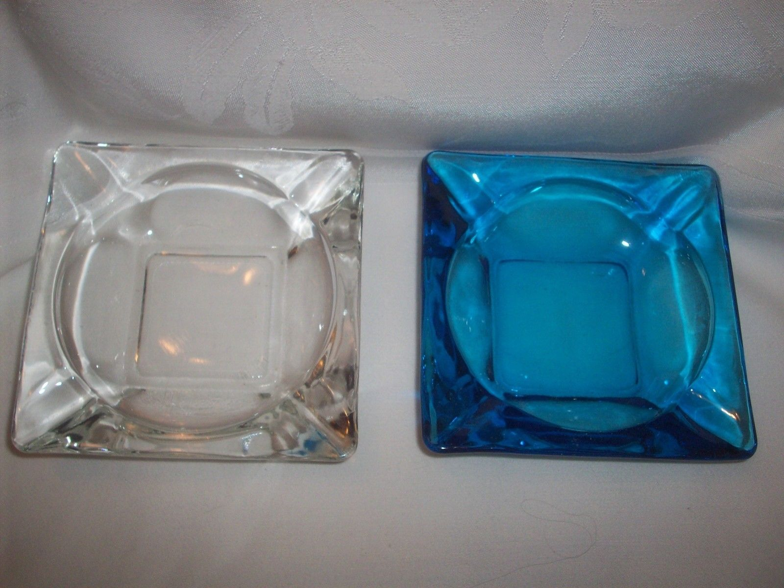 Primary image for Midcentury Vintage Blue and Clear Square Round Retro Glass Ashtray Lot Kitsch