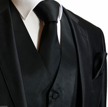 New MEN'S BLACK Tuxedo Dress Vest Waistcoat and Neck tie & Hankie 10B (3pcs Set) - $16.51+