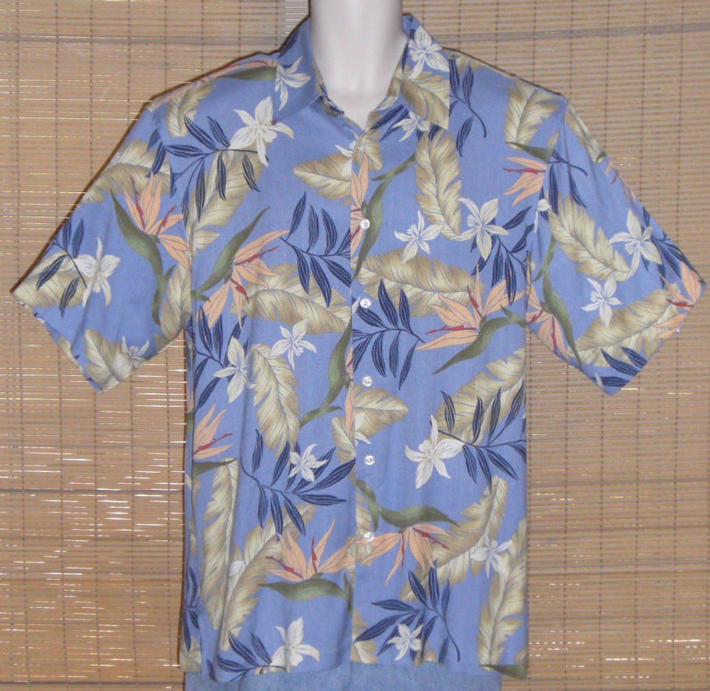 Primary image for IZOD Hawaiian Shirt Silk Blue Tan Peach Large