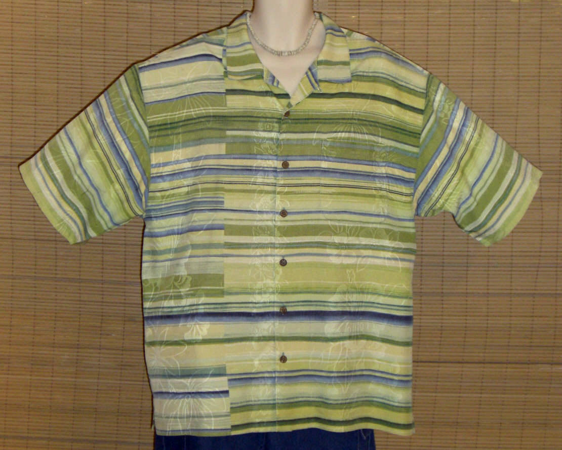 Tommy Bahama Hawaiian Shirt Green Stripe Silk XL