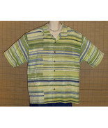 Tommy Bahama Hawaiian Shirt Green Stripe Silk XL - $21.95