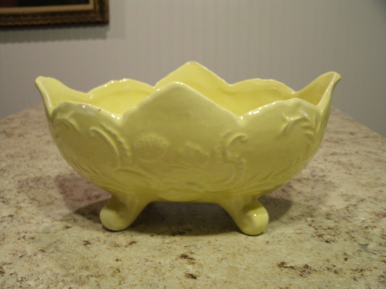 Primary image for Vintage Mid Century Cookson Pottery Yellow Glazed Footed Planter CP-92 USA