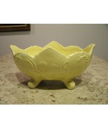 Vintage Mid Century Cookson Pottery Yellow Glazed Footed Planter CP-92 USA - $24.26