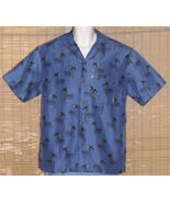 Sunset Breeze Hawaiian Shirt Microfiber Blue Black Medium - $19.95