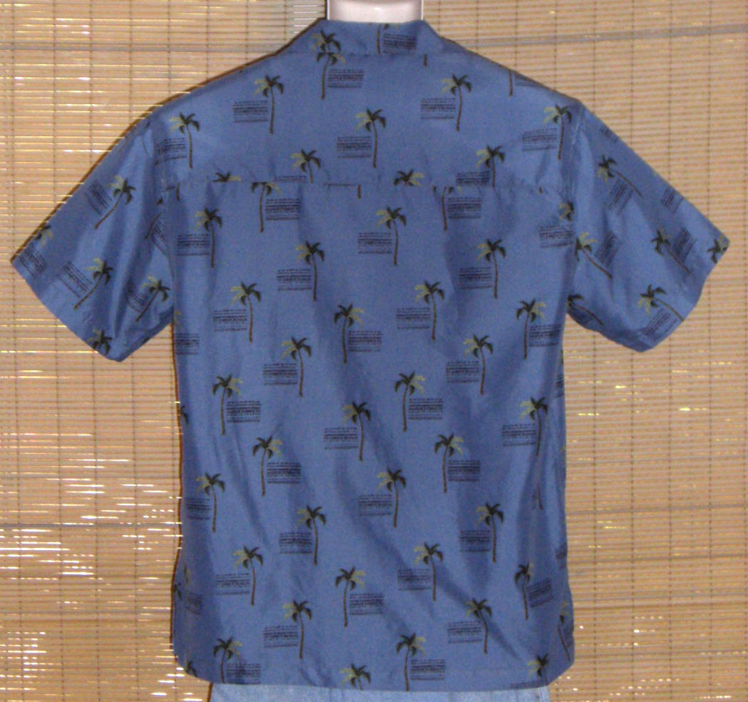 Sunset Breeze Hawaiian Shirt Microfiber Blue Black Medium