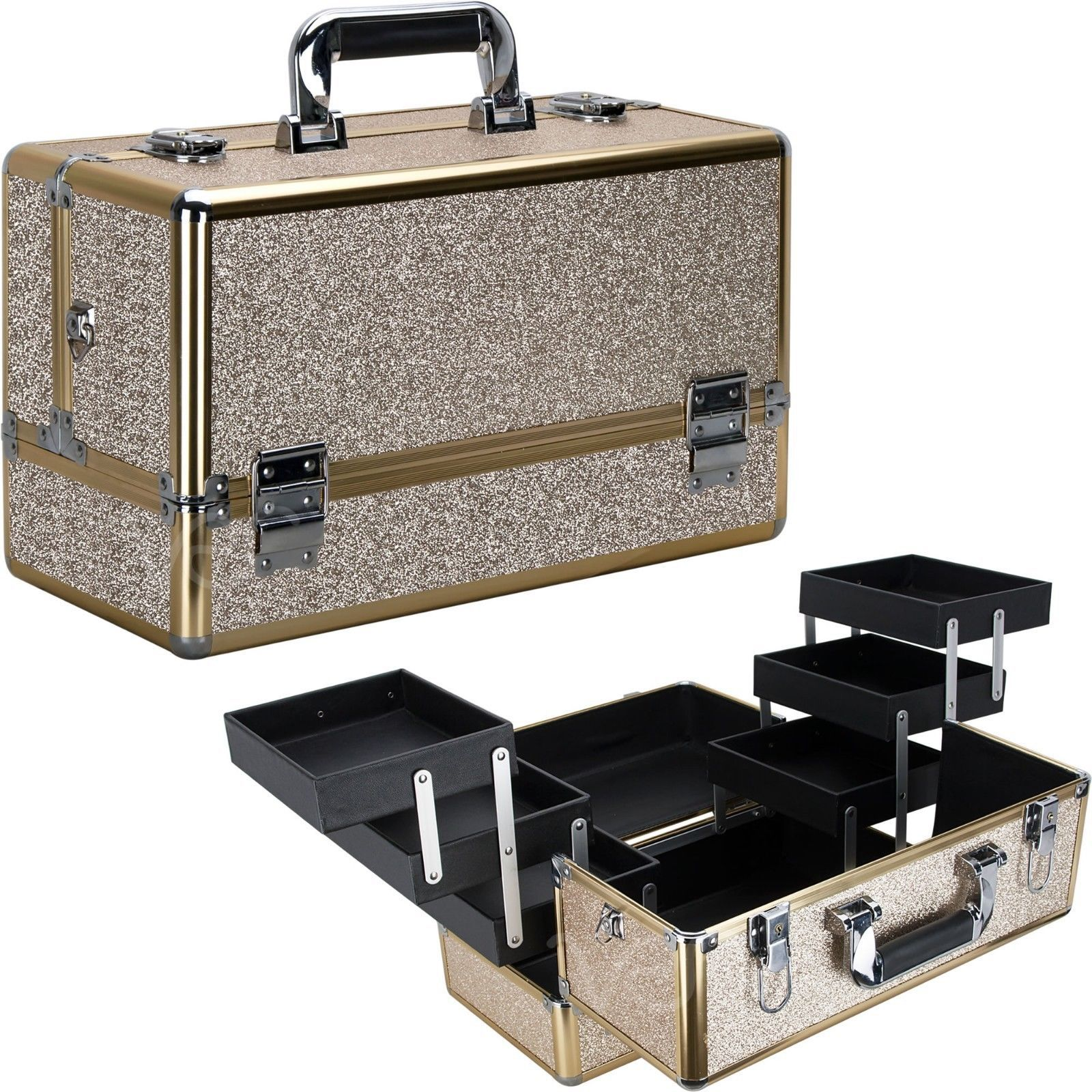Train Case Makeup Organizer Cosmetic Beauty Travel Storage Aluminum Box Key Lock